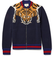 Gucci Tiger-Intarsia Wool Zip-Up Cardigan