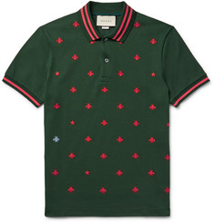 Gucci - Contrast-Tipped Embroidered Stretch-Cotton Piqué Polo Shirt