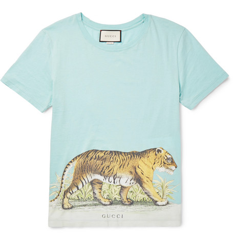gucci male gucci slimfit distressed printed cottonjersey tshirt sky blue