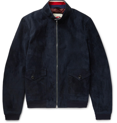 gucci male gucci suede harrington jacket navy