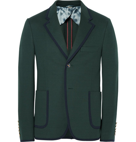 gucci male gucci green slimfit contrasttipped cotton suit jacket dark green