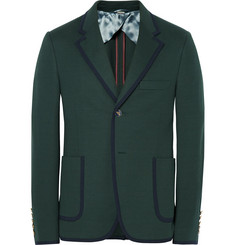 Gucci Green Slim-Fit Contrast-Tipped Cotton Suit Jacket