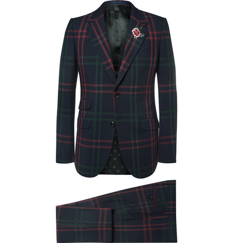 gucci male gucci blue slimfit checked wool suit navy