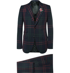 Gucci Blue Slim-Fit Checked Wool Suit