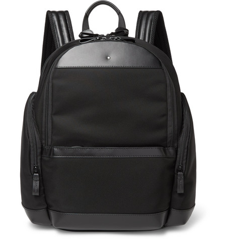 montblanc male montblanc nightflight leathertrimmed nylon backpack black