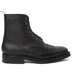 Thom Browne Pebble-Grain Leather Wingtip Brogue Boots