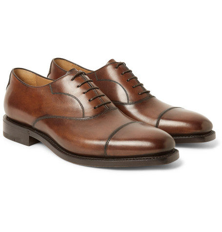 Roccia Polished-leather Oxford Shoes - Brown