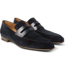 Berluti Andy Polished Leather-Trimmed Suede Loafers
