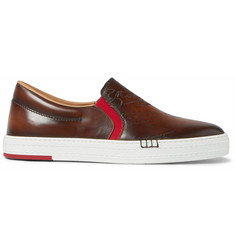 Berluti Scritto Palermo Polished-Leather Slip-On Sneakers