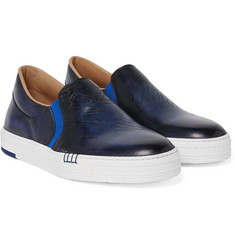 Berluti - Playtime Polished-Leather Slip-On Sneakers