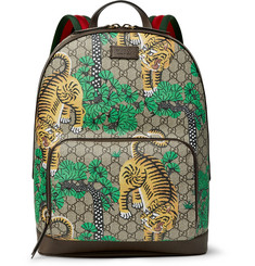 Gucci Leather and Webbing-Trimmed Printed Coated-Canvas Backpack