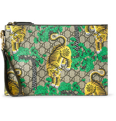 Gucci Leather-Trimmed Printed Coated-Canvas Pouch