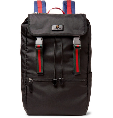 gucci male gucci webbingtrimmed nyloncanvas backpack black