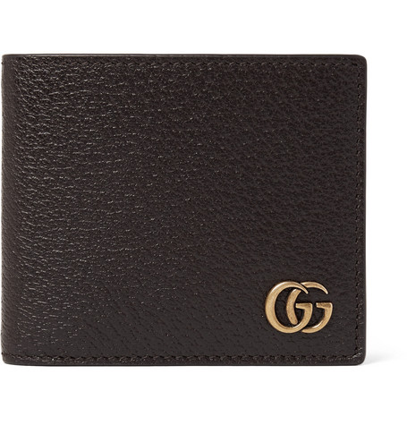 gucci male gucci marmont fullgrain leather wallet brown