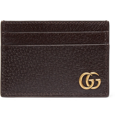 gucci male gucci texturedleather cardholder with money clip brown