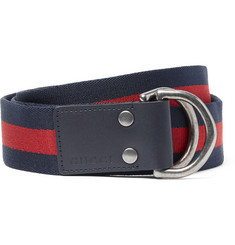Gucci 4cm Leather-Trimmed Striped Webbing Belt