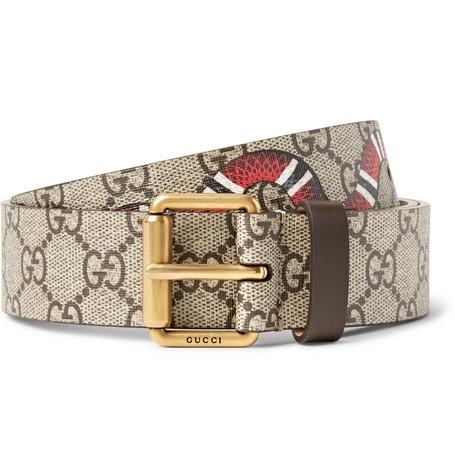 gucci male gucci 3cm printed coatedcanvas belt brown