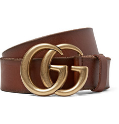 Gucci 4cm Brown Burnished-Leather Belt