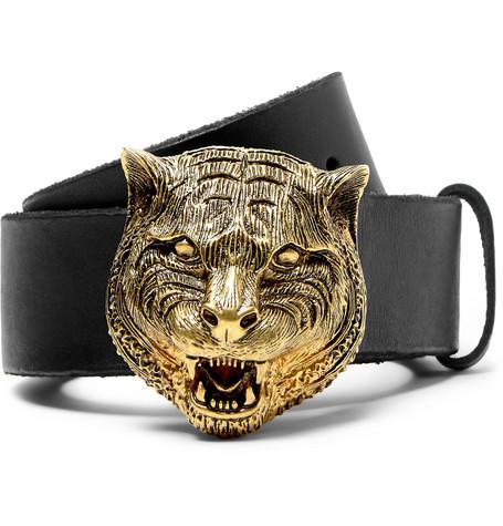 gucci male gucci 4cm black leather belt black