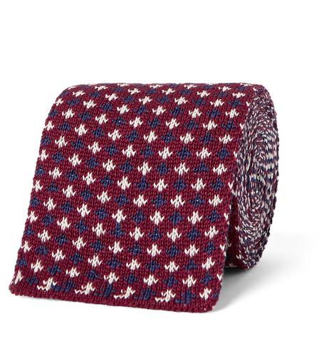 gucci male 215965 gucci 6cm knitted silk tie burgundy