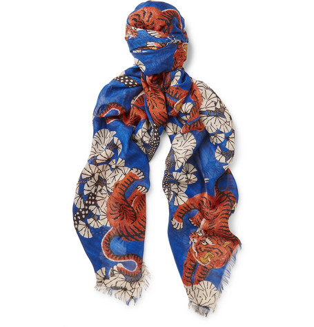 gucci male gucci tigerprint modal and silkblend scarf royal blue