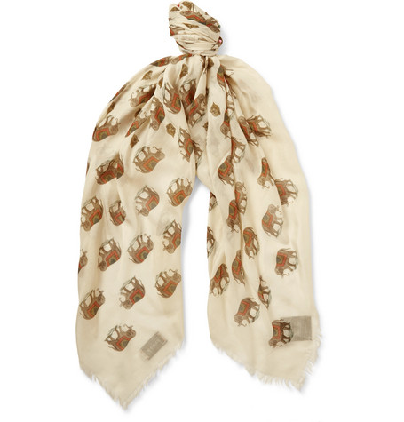 gucci male gucci printed modal and silkblend scarf ivory