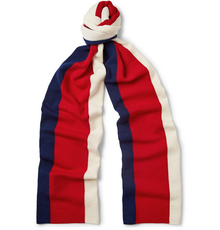 gucci male gucci striped wool scarf blue