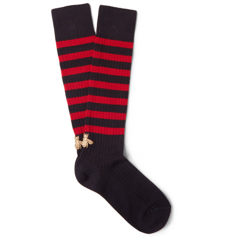 gucci male gucci embroidered striped stretch cottonblend socks navy