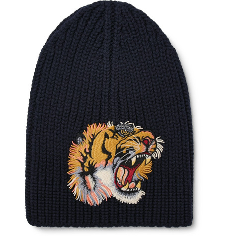 gucci male gucci appliqued wool beanie navy