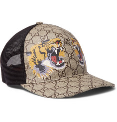 Gucci Supreme Printed Coated-Canvas and Mesh Baseball Cap