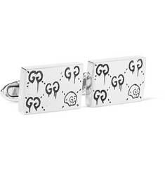 Gucci GucciGhost Engraved Sterling Silver Cufflinks