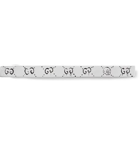 gucci male gucci guccighost engraved silvertone tie bar silver
