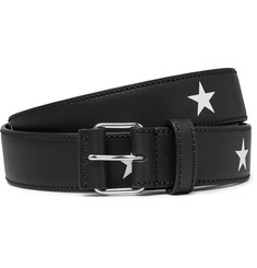 Givenchy 3cm Star-Print Leather Belt