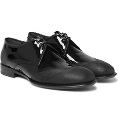 Alexander McQueen Distressed Patent-Leather Derby Shoes