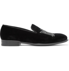 Alexander McQueen Beaded Velvet Slippers