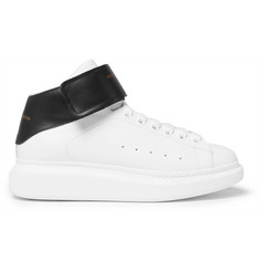 Alexander McQueen Larry Exaggerated-Sole Leather High-Top Sneakers
