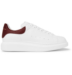 Alexander McQueen Larry Calf Hair-Trimmed Exaggerated-Sole Leather Sneakers