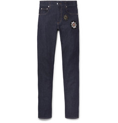 Alexander McQueen Slim-Fit Appliquéd Stretch-Denim Jeans
