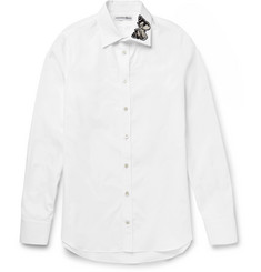 Alexander McQueen Slim-Fit Moth-Appliquéd Cotton-Poplin Shirt