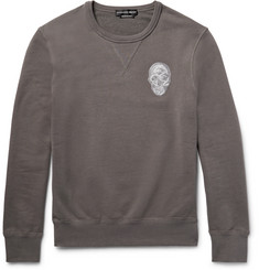 Alexander McQueen Skull-Embroidered Loopback Cotton-Jersey Sweatshirt