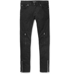 Alexander McQueen Slim-Fit Leather-Trimmed Stretch-Denim Jeans