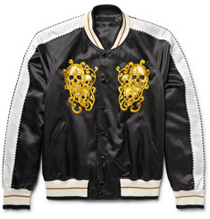 Alexander McQueen Embroidered Cotton and Silk-Blend Satin Souvenir Jacket