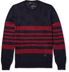 Alexander McQueen Laddered Striped Wool Sweater
