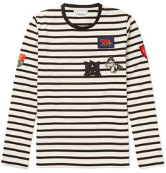Alexander McQueen Slim-Fit Appliquéd Striped Cotton-Jersey T-Shirt