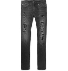 Alexander McQueen Slim-Fit Distressed Washed Stretch-Denim Jeans