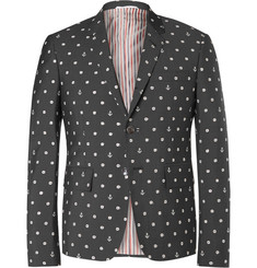 Thom Browne Grey Slim-Fit Embroidered Wool and Mohair-Blend Blazer