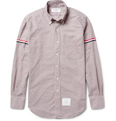 Thom Browne Slim-Fit Grosgrain-Trimmed Gingham Cotton Oxford Shirt