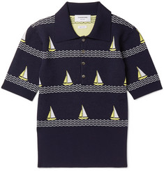 Thom Browne Boat-Patterned Knitted Wool-Blend Polo Shirt