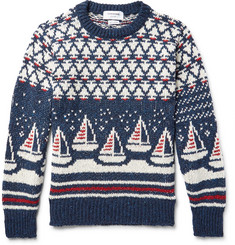 Thom Browne Jacquard-Knit Wool and Mohair-Blend Sweater
