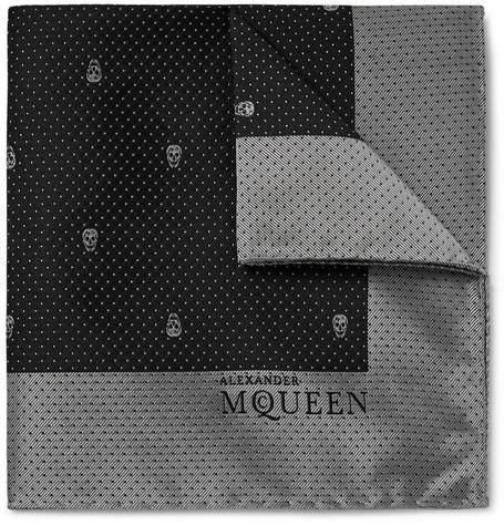 a19790bece0c7 Alexander Mcqueen Skull And Pin-Dot Silk-Jacquard Pocket Square In Black